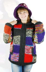 Hippy Jacket~Bohemian Patchwork Pixie Hood Jacket Zip Up Fleece Lined 100% Wool Hoodie~Fair Trade by Folio Gothic Hippy 9030